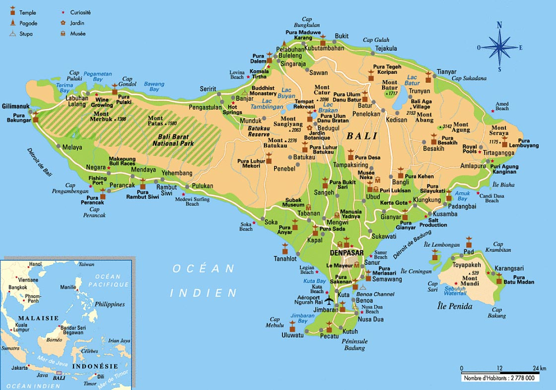 Carte bali indonesie carte indonesia map maps