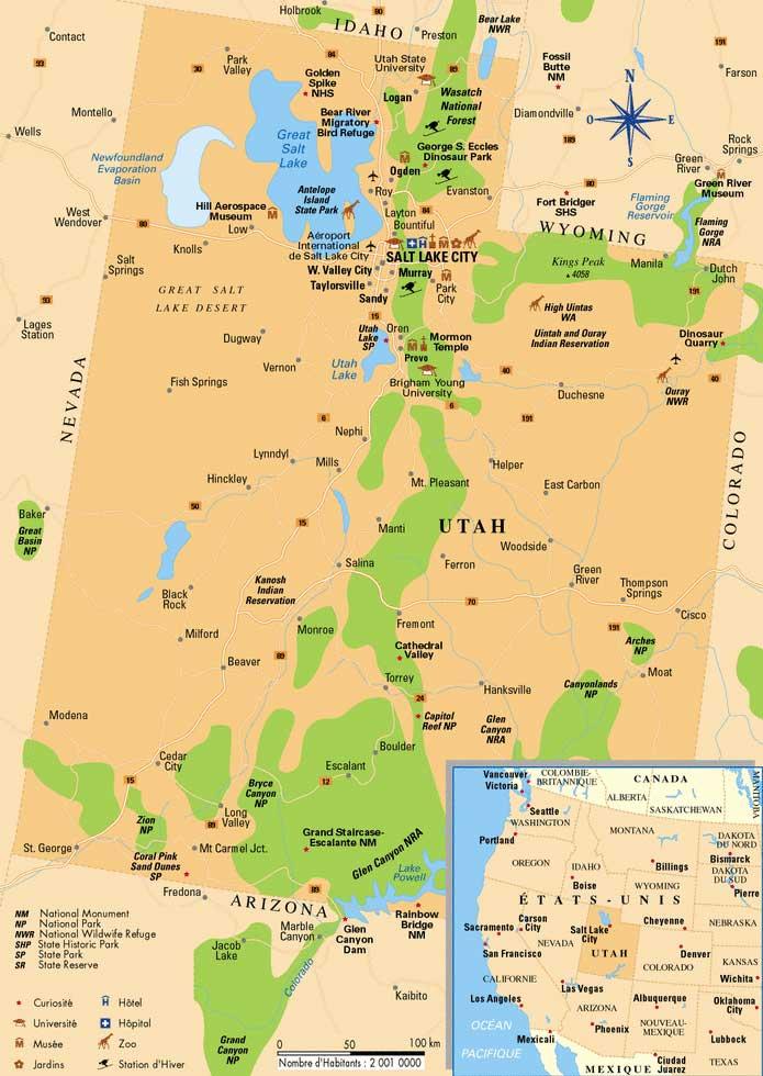 Utah In Usa Map.Carte De L Utah Utah Map