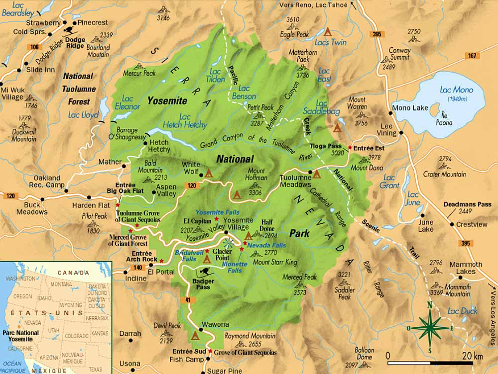 Parc Yosemite Carte.Carte Du Yosemite Yosemite Map