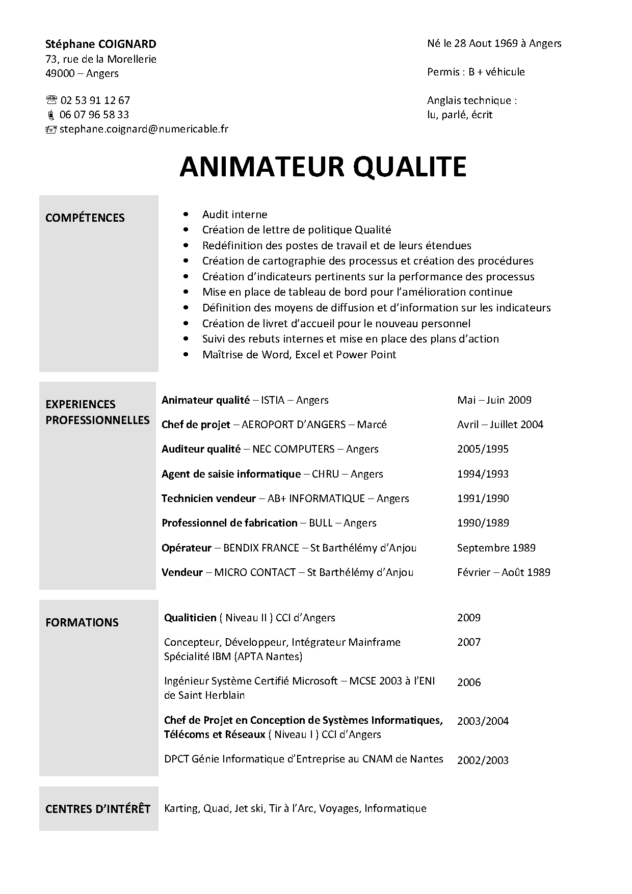 exemple cv qualiticien