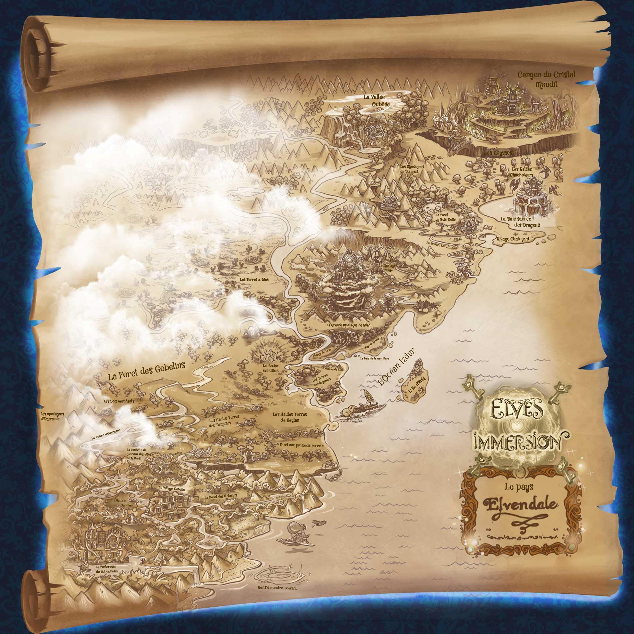 La carte d'Elvendale et ses lieux. CartedElvendale2017