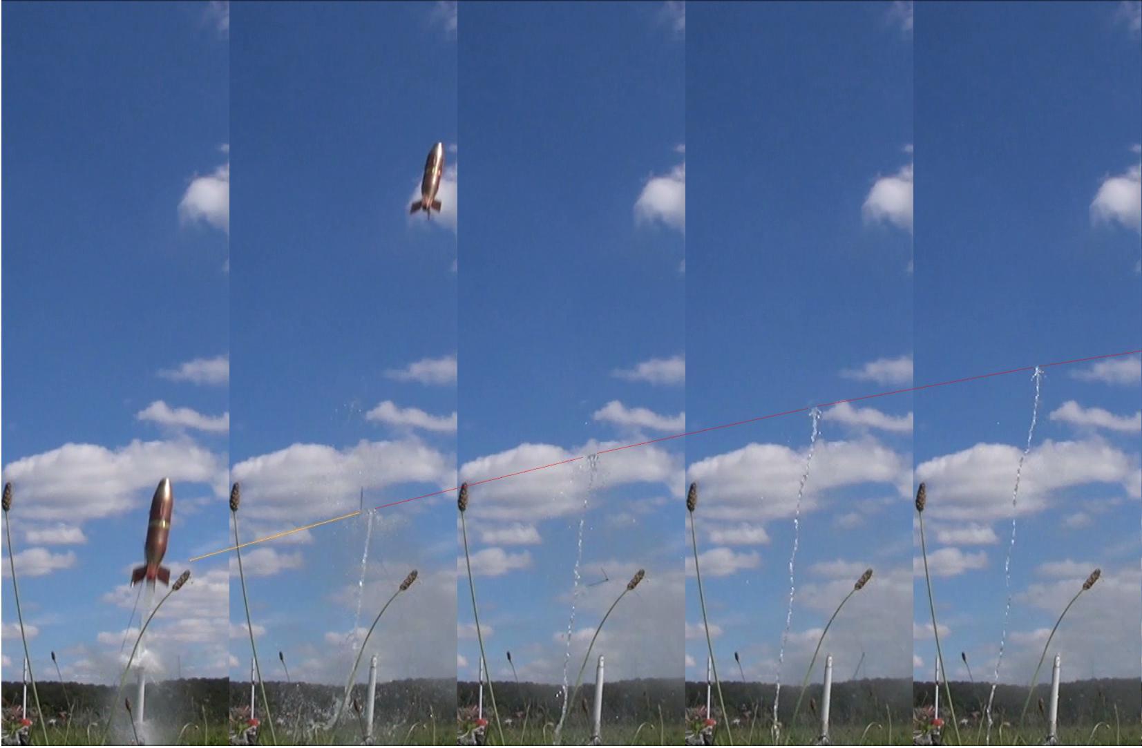 Extrapolation de la fin de propulsion, 5 images