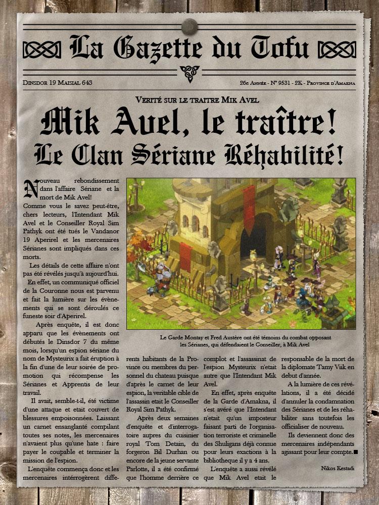[CR d'animation] Coupure de journal : mort de Mik Avel et réhabilitation du Clan. Gazette05