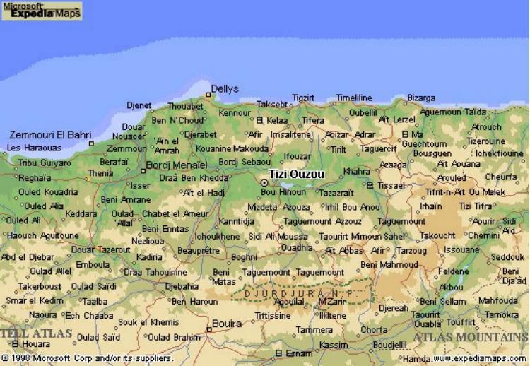 Carte Algerie Tizi Ouzou.Carte De Tizi Ouzou Et La Kabylie