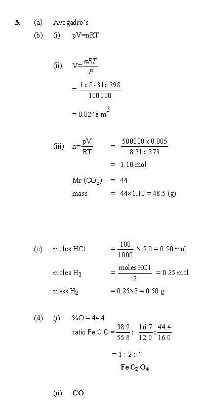 (ii) When one mole of this iron compound is heated, it decomposes to give one  mole of iron(II) oxide, FeO, one mole of carbon dioxide and one mole of ...