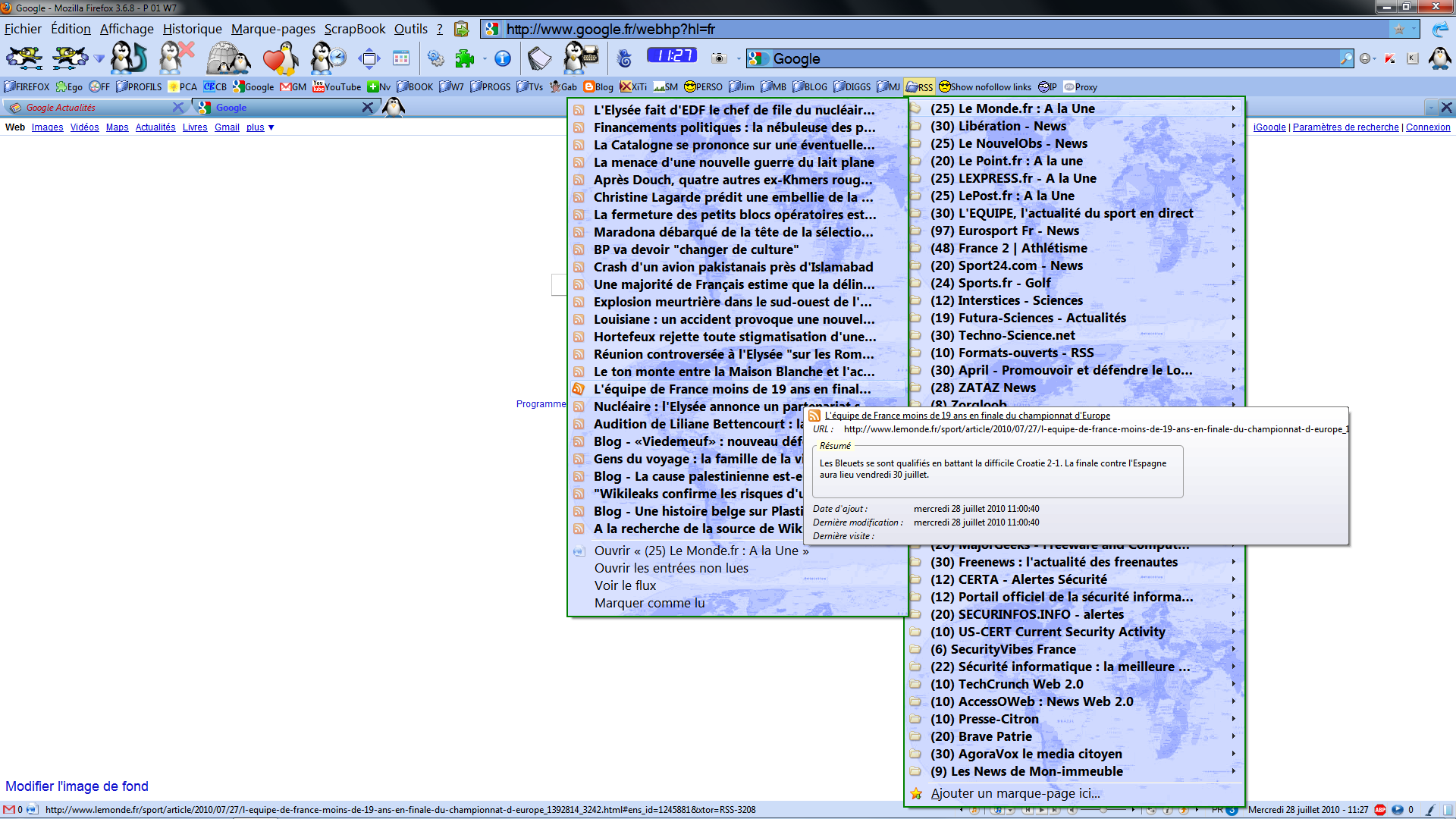 Firefox - Thème Penguin - Affichage des flux RSS